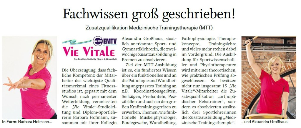 Vie Vitale Fitness Elmshorn - Qualifikation Trainer